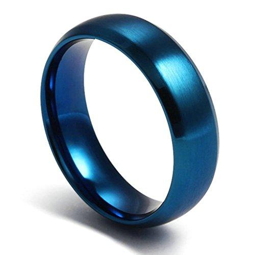 Aooaz Schmuck Unisex Ring,Runde Form Polieren Klassisch Edelstahl Ehering Verlobungsringe Blau Größe 72(22.9) (Damen Arch Orange Klassische)