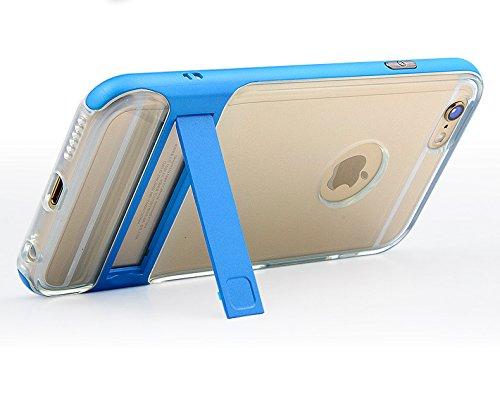 BCIT iPhone 6 Custodia - ibrida Morbido resistente agli urti + Bumper Frame Dual Layer Case con Supporto di protezione per iPhone 6 - Trasparente Blu Trasparente & Blu
