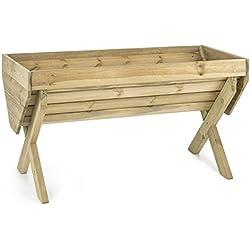 Blumfeldt Altiplano 150 - Jardinière de 150x76cm en bois de pin scandinave, pour culture potagère sur balcon ou terrasse - bâche incluse