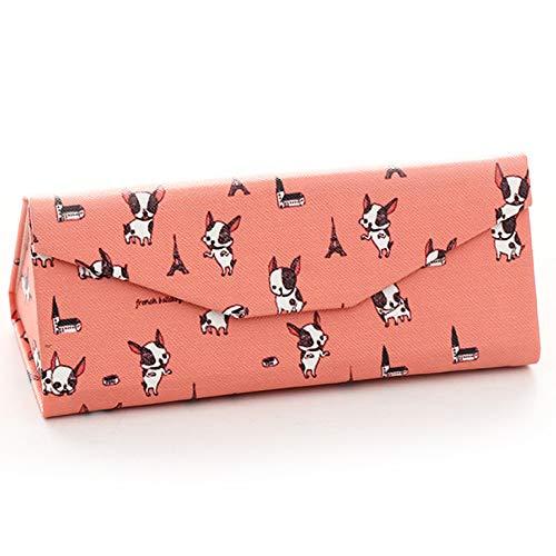 COMFOT PU Leder Faltbare Eyegbrillen Case, Anti-Druck Portable Hard Triangle Cartoon Pink Sonnenbrillen Box mit Magnetic Clasp für Frau