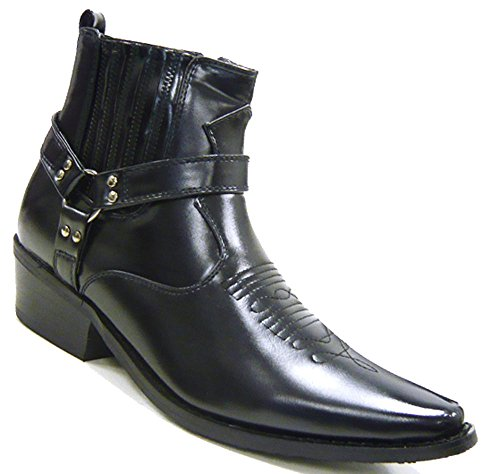 Schuh-City BIKY Herren Schuhe Stiefelette Cowboy Stiefel schwarz 40