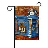 MONTOJ Blauer Briefkasten an der Wand vordere Hofflagge doppelseitig Bedruckt Mehrfarbig, Polyester, 1, 12x18(in)