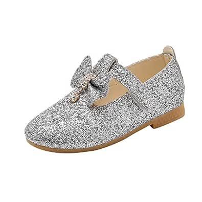 Boomboom Baby'Shoes Girl Glitter Ballet Toddler/Little Girl Mary Jane Front Bow Heart Rhinestone Buckle Ballerina Flat Silver 30