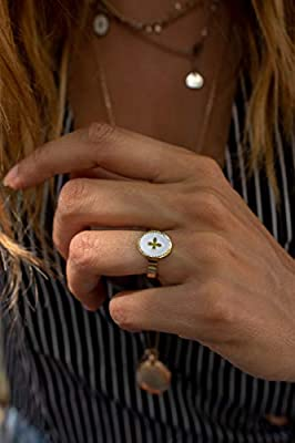 Bague médaille émaillée petite Croix en acier inoxydable Blanche/Dorée
