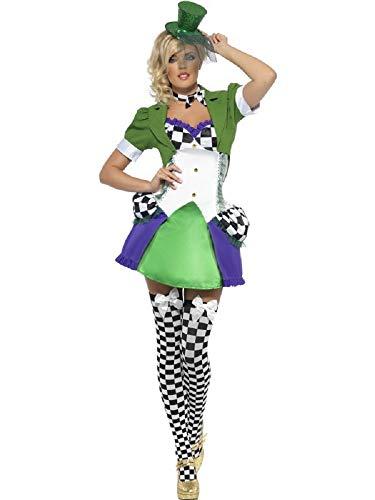 Fancy Me Damen Sexy Miss Verrückter Hutmacher Alice im Wunderland Fieber Halloween Kostüm Kleid Outfit - Grün, 8-10 (Miss Wunderland Halloween Kostüm)