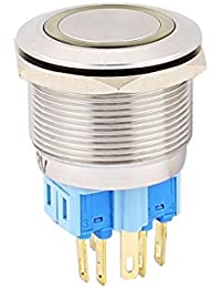 Tradico® 12V 25mm Dia Yellow LED Angle Eyes Momentory Metal Pushbutton Switch