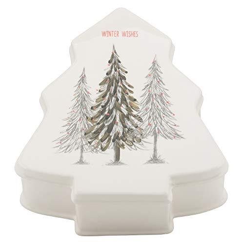 10 Erdbeerstrasse WW-TRCT Winter Wonderland Keramik-Baum Weihnachtsplätzchendose, Einheitsgröße, Weiß