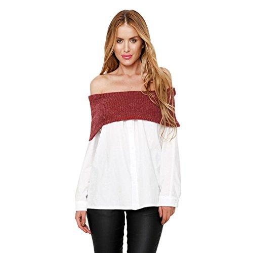 Yalatan Women Long Sleeve OffShoulder Knitt Neck Pullover Sweater Jumper Wrap Top Yalatan
