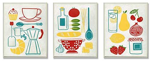 Stupell Home Decor Wandschild für die Küche, Motiv Sonntag, Frühstück, Abendessen und Picknick, 10 x 0,5 x 15 cm -