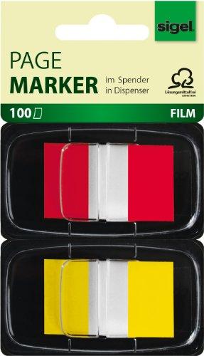 Sigel HN496 Haftmarker im Spender, 100 Streifen im Format 25 x 43 mm, rot, gelb