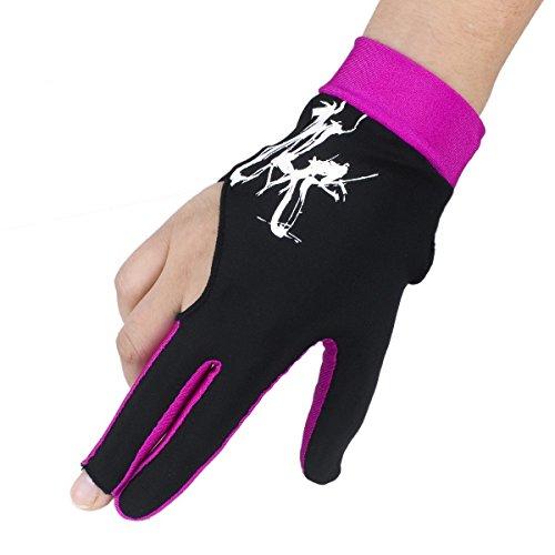 eNice Handschuhe Billard, Snooker, Pool Queue, elastischer Lycra, 3Finger Handschuhe, ideal für den rechten oder linken Hand für Männer oder Frauen, damen, rose, Large - Links Hand Rose