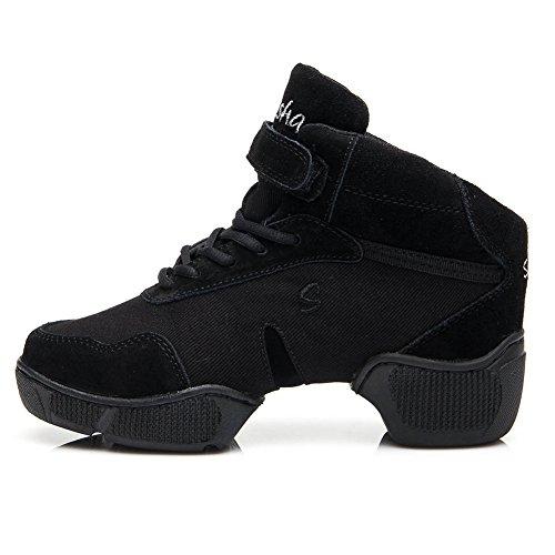 hroyl-men-women-dance-sneakers-b57-blackcotton-modern-jazz-soft-leather-sport-sneakerboost-pigskin-d