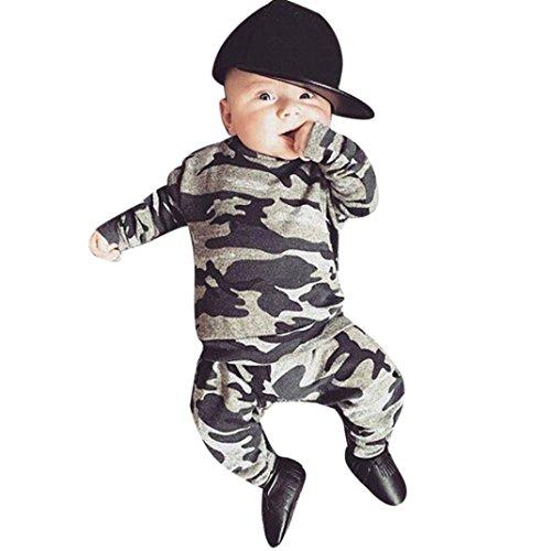 I neonati dei neonati dei capretti dei rawdah neonati vestono i pantaloni del camuffamento delle parti superiori + pantaloni lunghi (12/18 mesi, grigio)