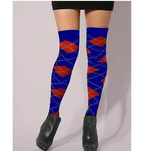 Rot Blau Schwarz Argle Diamant Muster über dem Knie Socken lang - Diamant-knie-socke