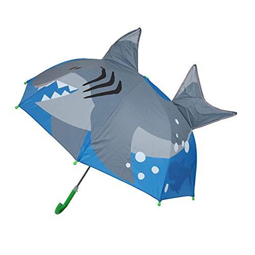Wovemster Kinder 3D Sonnenschirm Und Regenschirm für Mädchen und Jungen - Kompakt Und Kompakt, Winddicht, Stabil(Großer Hai) -