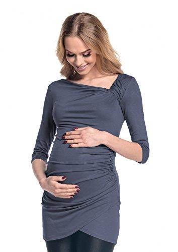 Happy Mama Femme. Robe courte de grossesse. Manches 3/4 tunique shirt. 995p Bleu Gris