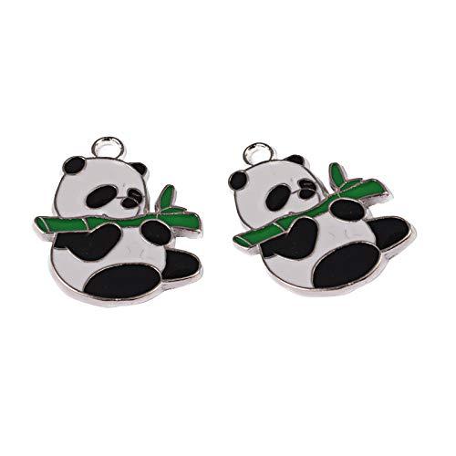 Pandahall 5 pc colore platino panda shape pendente smaltati in lega per fare collana di braccialetti fai da te, foro: 3 mm