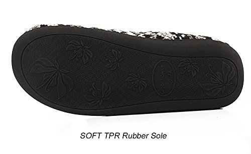 Happy Lily Unisex Slip on Slippers Antirutsch Sandale Memory Foam Mules gestrickter Fleece Schuhe Vintage-Boho-Art f¨¹r Erwachsene - PERFECT WEIHNACHTSGESCHENK Black