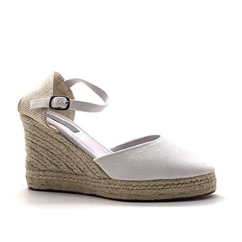 Angkorly - Damen Schuhe Sandalen Espadrilles - Folk/Ethnisch - Böhmen - romantisch - mit Stroh - Geflochten - Basic Keilabsatz high Heel 9 cm - Weiß 787-5 T 37