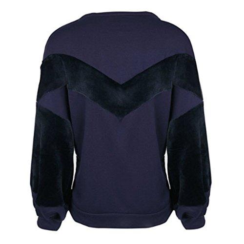 Top femme haut femme Casual chic élégant blouse sweater et mode automne Pull-over hiver femme manche longue t shirt manche longue femme Violet foncé