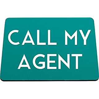 Hippowarehouse Call my agent printed mouse mat pad accessory black rubber base 240mm x 190mm x 60mm