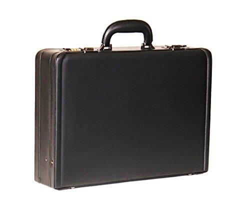 Attache Aktenkoffer Executive Geschäft Tasche Arbeit Leder Look Kombinationsschloss HOL3296 Schwarz (Executive-aktenkoffer)