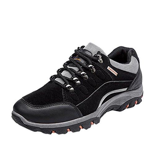 Herren Sportschuhe,Männer Turnschuhe Wandern beiläufige Wasserdichte Sport Anti-Rutsch-Schuhe im Freien Laufschuhe Verschleißfest Atmungsaktiv Schuhe (EU:44CN:45, Schwarz)