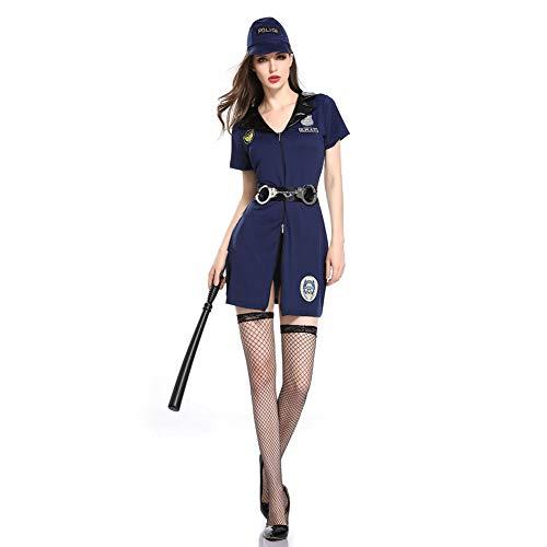 MEMIND Halloween Erwachsene Kleidung Europa und Amerika Spielanzug Schwarze Katze Sheriff Rollenspielanzug Frau Bühne Kostüme Thema Party Party Kleidung,L (Weibliche Sheriff Kostüm)