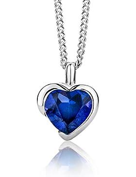 ByJoy Damen-Kette Mit Anhänger 925 Sterling- Silber Herzschliff Blau 45cm