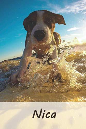 Nica: Personalisiertes blanko Notizbuch / Malbuch mit Namen: Nica - individuelles Namensbuch mit Hunde Motiv | perfekt als Geschenkidee