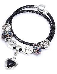 252d0d8abe56 QWERST Bracelet Charm Bracelet con Bonita Colgante De Cristal Negro Fino  Brazalete para Mujer Bisutería