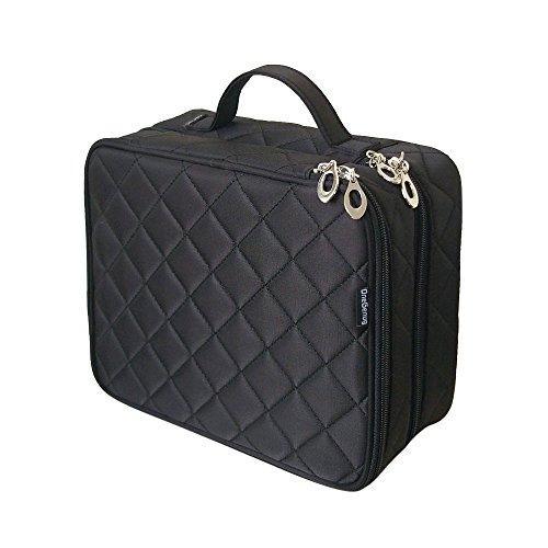 Große Kosmetiktasche, ONEGenug Makeup Tasche, Doppelschicht für Damen, Schminktasche Kosmetikbeutel Kulturtasche Size L, 25 * 20 * 12cm ( Größe L schwarz) - Tasche Organizer Make-up