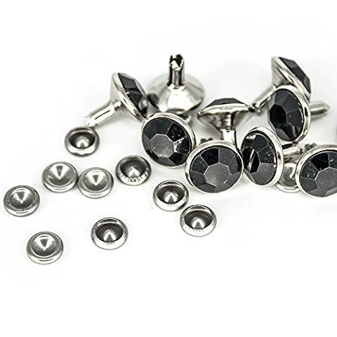 10mm mit Diamant Nieten mit farbigen Acryl für Jeans Stoff Leder Taschen Gürtel durch Hochzeit Decor, metall, schwarz, 10 mm