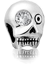 """Andante-Stones - original, plata de ley 925 sólida, cuenta de plata VANITAS """"Calavera y tibias cruzadas"""" con una circonia, elemento bola para cuentas European Beads + saco de organza"""