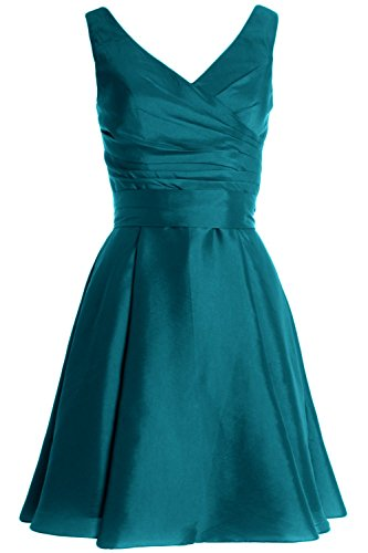 MACloth Women Pleated Taffeta Short Cocktail Dress Bridesmaid Wedding Party Gown Teal
