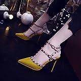 Yukun zapatos de tacón alto Tacones De Cuero con Tachuelas Heel Stiletto Hebilla De Hebilla De Hebilla Hueco, 35, Amarillo