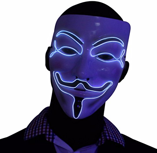 Silver V for Vendetta EL Wire LED Mask, Guy Fawkes Anonymous Mask, glow in the dark light up halloween mask