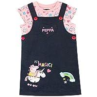 Peppa Pig Girls Unicorn Pinafore Dress and T-Shirt