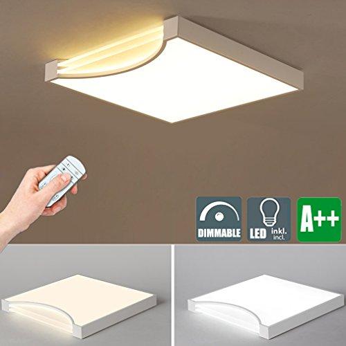 Dimmbare LED Deckenleuchte Kreative Platz Deckenlampe Modern Decken Lichter Schön Innen Dekoration Beleuchtung Hochwertigem Metall Design Lampe Acryl Lampenschirm 40W Dimmen mit Fernbedienung MAX 3000 LM (Weiß)