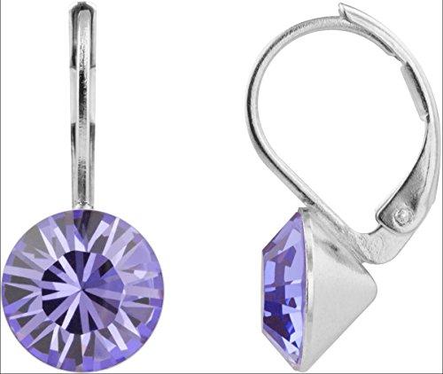 petra kupfer Damen Ohrringe Ohrhänger Rivoli 1 Swarovski®-Kristall 9 mm Lila Tanzanite Versilbert hk39tb-tanzanite