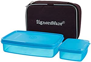 Signoraware Compact Small Lunch Box with Bag, T Blue