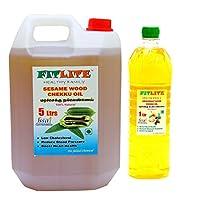 FITLITE Combo Sesame Chekku Oil 5 LTR + Groundnut Wood Chekku Oil 1 LTR