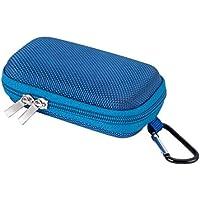 Tragbare Muschelschale Kasten mit Metall Karabiner Clip Mezzanine Netz für MP3 Player, iPod Nano, Kopfhörer, Kleingeld, Schlüssel, Karte, von AGPtek BC, Blau