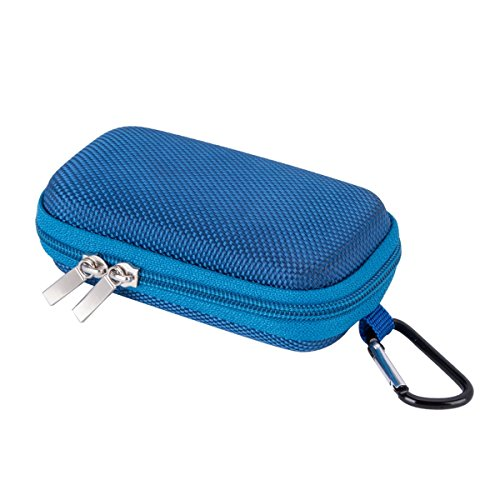 AGPTEK Small and Compact Protective Storage Case for Mp3 Players & Earphones (Compact Protective Storage Case, Blue)