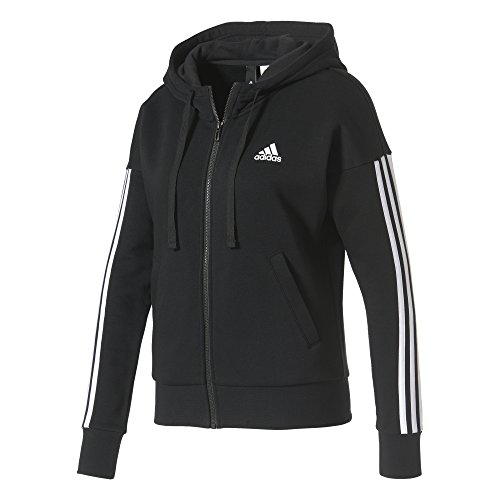 adidas Damen Jacke Essentials 3-Stripes Full Zip Hoodied, Black/White, L, S97059