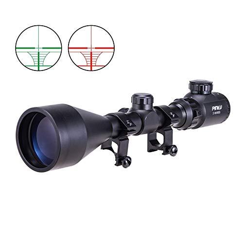 Fithalt 3-9X56EG Zielfernrohr Luftgewehr Scope Rangefinder Mil Dot Rot Grün Red Dot Sight Visor Taktische mit Halterungen und Flip-up Cover