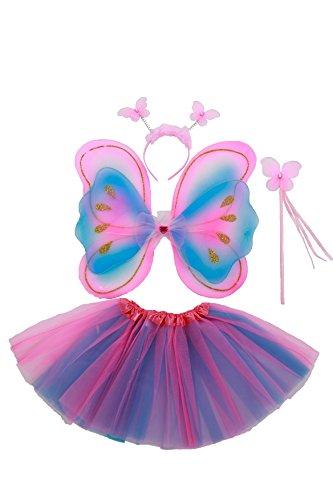 erling Kostüm für Mädchen - 4-teiliges Set - Feenflügel / Schmetterlingsflügel Verkleiden - Pink/Violett/Blau (Feenflügel Kind)
