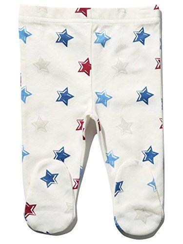 M&Co Newborn Baby Boy Unisex Cream Star Print Full Length Elasticated Waist Integral Feet Cotton Leggings Cream 3/6 Mnths
