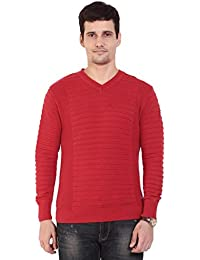 TAB91 Men's Cotton Rich Red Solid V Neck Pullover