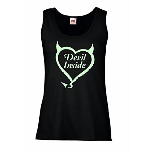 Damen Tank-Top Devil Inside Devil Kostüme lustige Kleidung, Geschenke für Gamer, Cooler Slogan (Medium Schwarz - Glenn Twd Kostüm